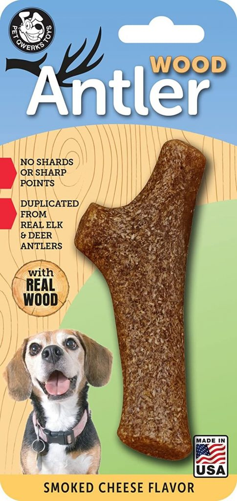 Pet Qwerks REAL WOOD Antler, Smoked Cheese Flavor -  best dog bones for goldendoodles - TheDoodleguide.com